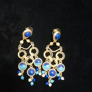CHICOS gold, turquoise and blue dangle earrings
